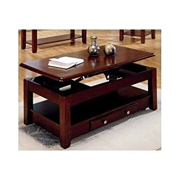 Lift Top Coffee Table In Cherry Finish With Storage Drawers And Bottom  Shelf By Lift