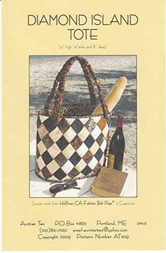 (Diamond Island Tote Pattern, by Aunties Two, Batik Friendly, Finished Tote 12
