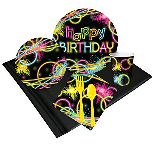 Glow Birthday Party Deluxe Tableware Kit (Serves 8)