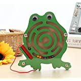 Mini Round Wooden Round Magnetic Maze Puzzle Interactive maze Magnet Beads Maze on Board Game Eduactional Handcraft Toys frog