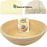 "WALFOS 9"" Round Banneton Proofing Basket Set - French Style Sourdough Artisan Bread Bakery Basket,Dough Scraper/Cutter & Brotform Cloth Liner Included - 100% Natural Rattan"