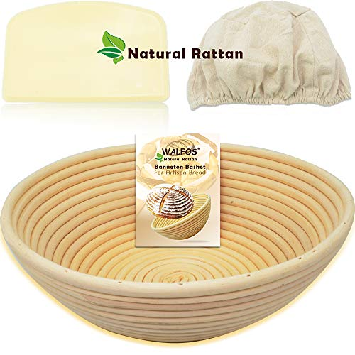 WALFOS 9 Round Banneton Proofing Basket Set - French Style Artisan Sourdough Bread Bakery Basket,Dough Scraper/Cutter & Brotform Cloth Liner Included - 100% NATURAL RATTAN