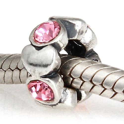Everbling Heart Spacer with Pink Austrian Crystal October Birthstone Authentic 925 Sterling Silver Bead Fits Pandora Chamilia Biagi Troll Charms Europen Style Bracelets