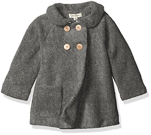 Jessica Simpson Baby Girls' Double Breasted Faux Wool Coat, Grey, 24 Months