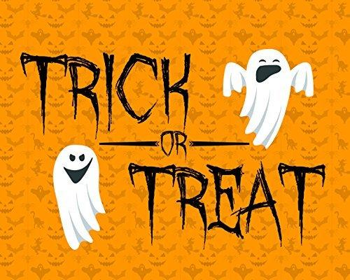 Trick Or Treat Print Orange Pumpkin Background Ghost Picture Halloween Decoration Wall Hanging Seasonal