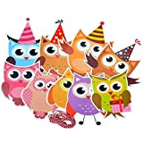 BRUIO Owl Shape Party Decorations Kids Party Favors Birthday Bunting Banner Paper Flags Banner Party Baby Shower Supplies,5PCS