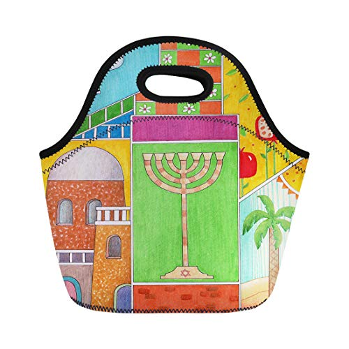 Semtomn Lunch Tote Bag Colorful Rosh Hashanah Greeting Whimsy of Jewish New Year Reusable Neoprene Insulated Thermal Outdoor Picnic Lunchbox for Men Women