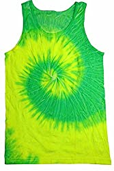 Colortone Unisex Tie Dye Tank Top, Flo Yellow & Lime, Small