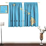 Jinguizi Hawaiian Decorations CollectionCustom curtainMap of Hawaii Islands with Capital Honolulu Borders Important Cities and VolcanoesNon-Toxic Curtain W55 xL39 Blue