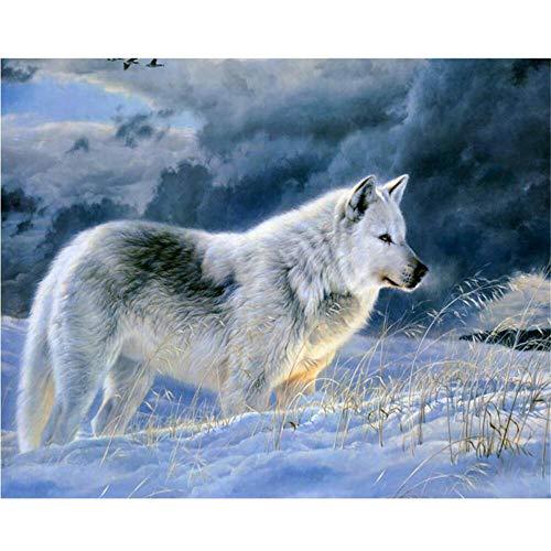 Puzzle in legno da 1000 pezzi lupo di neve solitario giochi puzzle