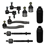 honda crv 2000 suspension - Detroit Axle - New Complete 10pc Front Suspension Kit Honda 1997-2001 CR-V -10-Year Warranty- Both (2) Lower Ball Joints, All (4) Inner & Outer Tie Rod, Both (2) Front Sway Bar Link, 2 Tie Rod Boots