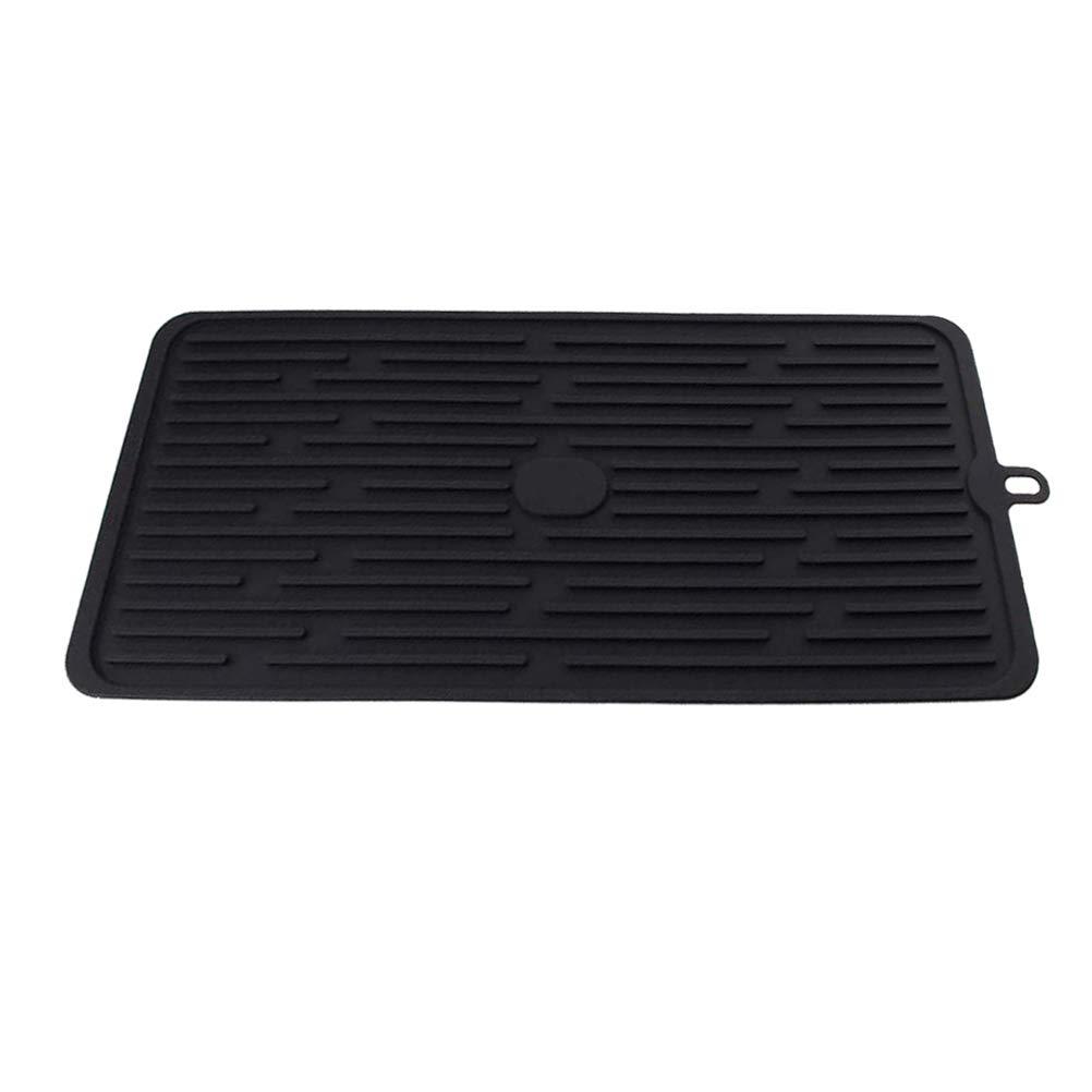 Dish Drying Mat Flexible Silicone Folding Dish Drainer Pad Gray Non-Slip, Black for Spoon Draining, Pans, Pots, Trivet, 1PCS by 17mey