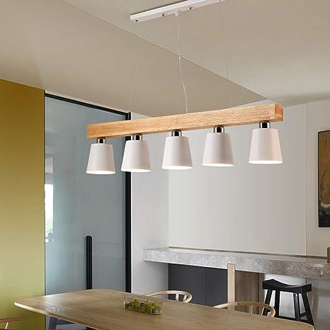 Luz colgante Mesa de comedor Lámpara colgante madera y metal ...