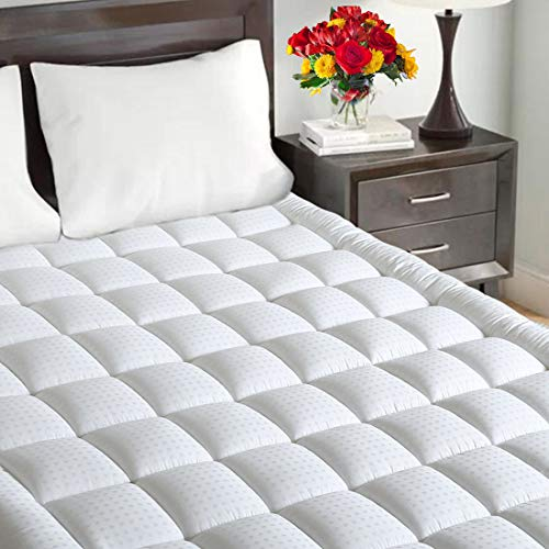 Maevis Quilted Fitted Mattress Pad Cover King Size Stretches Up To 21 Inches Deep Mattress Topper Cotton Top Pillow Top With Snow Down Alternative Fill
