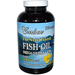 Carlson Labs Very Finest Fish Oil, Lemon, 1000mg, 240 Softgels