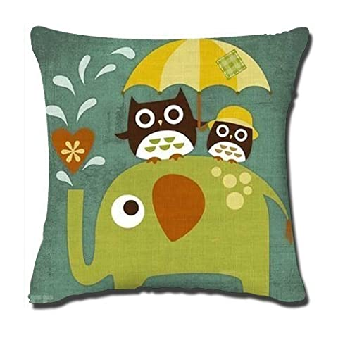 Pillowcase Standard 18x18 Inch Two Sides Zippered Pillow Cover Elephant With Owl