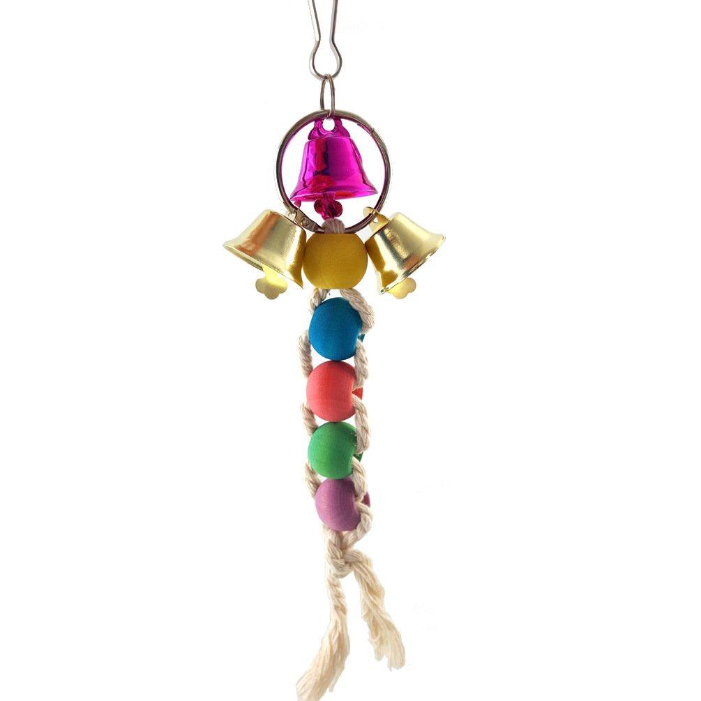 corda di cotone durevole perline colorate pappagallo arrampicata e perline giocattolo interattivo con ganci piccolo animale domestico gioca campane giocattolo pappagallo forniture Forniture per l'istruzione Arredamento e forniture scuola prima infanzia Uccello giocattolo da masticare