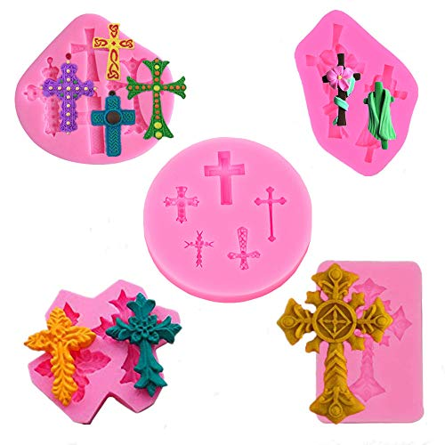 BakingWorld Cross Shape Cake Fondant Mold,Baptism Cake Toppers Decorating Tools,Cross Silicone Mold for Chocolate,Fondant,Polymer Clay,Soap,Crafting Projects & Cake(Set of 5)