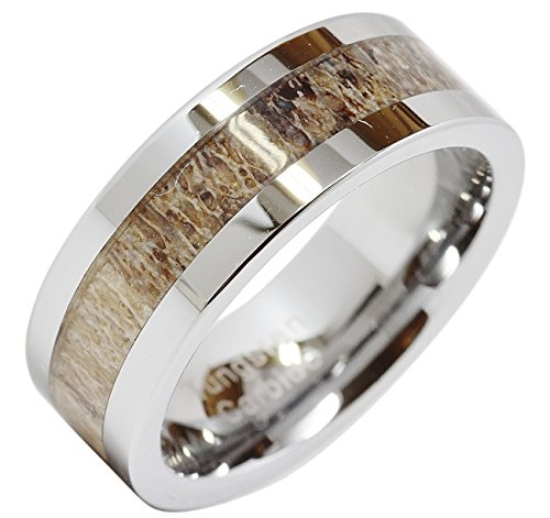 100S JEWELRY Tungsten Rings for Men Wedding Band Deer Antler Inlaid Hammer Flat Band Size 8-16 (9)
