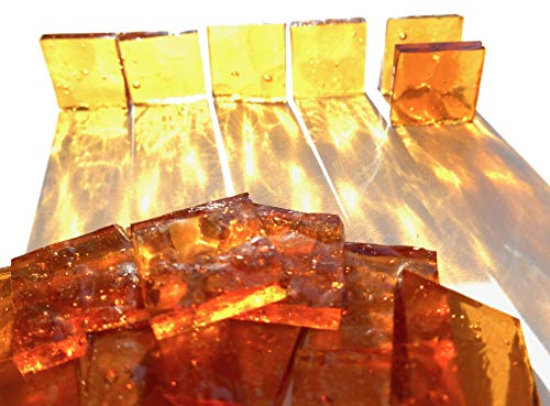 Glass 1/2 Square Mosaic (FortySevenGems 100 Pieces Stained Glass Mosaic Tiles 1/2-Inch Lt Amber Cathedral Glass Textured)