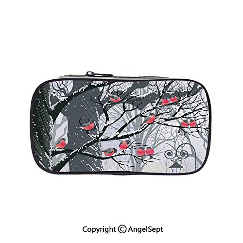 Pen Case Office College School Large Storage,Bullfinches on Trees in Winter City Park Snow Cold Weather Immigrant Birds Design Black Grey Red 5.1inches,Box Organizer New Arrival -