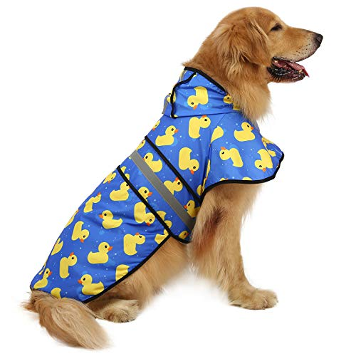 HDE Dog Raincoat Hooded Slicker Poncho for Small to X-Large Dogs and Puppies (Rubber Ducks, X-Large)