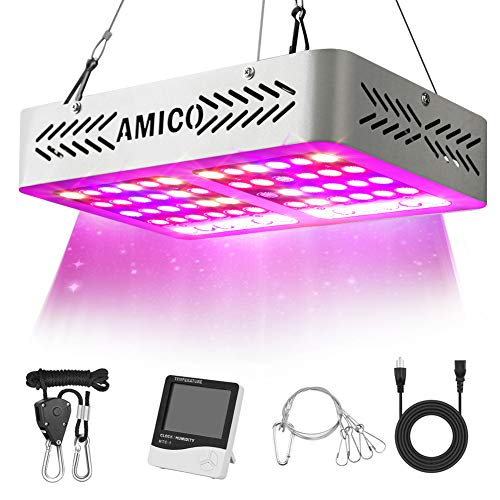 Amico LED Grow Light Indoor Plant Grow Lights Full Spectrum with UV&IR for Veg and Flower with Thermometer Humidity Monitor and Adjustable Rope 600W (Led Grow Light For Veg And Flower)
