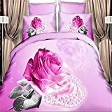 Royal- Cotton 3D Reactive printed bed sheets quilt pillowcases Imitation oil painting four sets