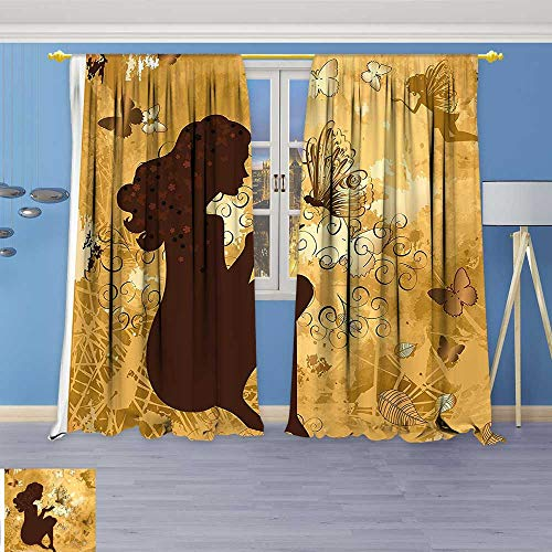 Flower Design Foil Printed Grommet Thermal Insulated Window Panels Fairy Girl Silhouette with Butterflies Leaves Blooms and Angel Figure Light Coffee Brown for - Silver Butterfly Foil Bead