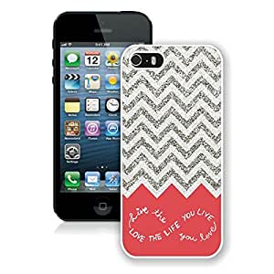 Special Iphone 5s Case Custom Iphone 5 White Cover Deer Artdesign for You Colorful Chevron Pattern Live the Life You Love, Love the Life You Live