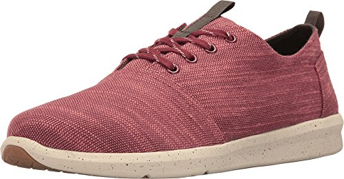 TOMS Men's Del Rey Sneaker Pomegranate Slubby Linen Oxford