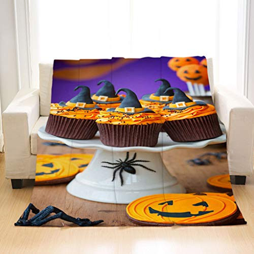 BEIVIVI Custom Luxury All Season Blanket A Plate of Halloween Cupcakes with Orange Frosting Flannel Blanket Perfect for Couch Sofa Or Bed -
