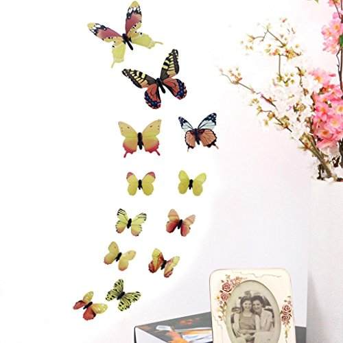 LiPing Wall Paper 3D 12 Pcs Butterfly Wall Stickers-Removable Decal Art Home Decor Painting Supplies Room Decor Kit-Kids Bedroom Decoration (Yellow) ()
