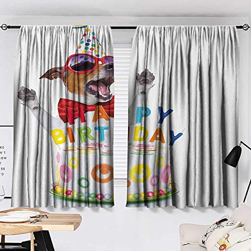 Jinguizi Kids Birthday Curtain Darkening Blackout Party Dog at Suprise Birthday Party with Cone Hat and Glasses Photograph Fun pop Darkening Curtains Multicolor W55 x L39 by Jinguizi (Image #1)