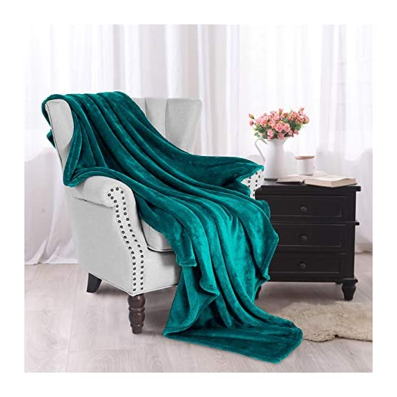 "Exclusivo Mezcla Luxury Flannel Velvet Plush Throw Blanket – 50"" x 60"" (Teal) - 280GSM FLANNEL FLEECE- The flannel fabric we choose is originally made from 100% microfiber polyester and brushed to create extra softness on both sides, the throw is designed to be simple but elegant. DURABILITY- The throw we offered is designed to be simple but elegant, this plush throw is super soft, durable, warm and lightweight. It's wrinkle and fade resistant, doesn't shed, and is suitable for all seasons. DECORATIVE- Throw features a velvet touch softness and rich and inviting designs, featuring a double-faced plush with graceful luster. Easily coordinates or enhances existing bedding or home décor. - blankets-throws, bedroom-sheets-comforters, bedroom - 512SEnx6xbL. SS570  -"