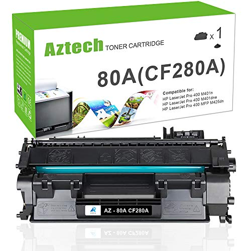 Aztech 1 Pack Compatible for HP Laserjet 80A CF280A 80X CF280X M401dne Toner Cartridge Replacement for HP Laserjet Pro 400 Toner HP M401n M401dne Toner HP Laserjet Pro 400 MFP M425dn Toner Printer ()
