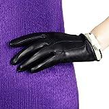 CWJ Gloves Women Fashion Cute Bow Short Winter Warm,Velvetblack,Medium
