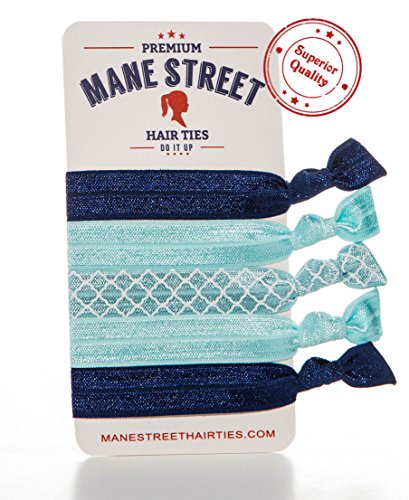 Mane Street Hair Ties (Blue) - Made From The Best Fold Over Elastic Material On The Market - No Tug Knotted Elastic Ribbon - Prevents Ponytail Holder Headache - Best Seller