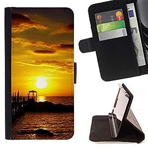 BullDog Case - FOR/HTC One M7 / - / Seaside Sunset /- Monedero de cuero de la PU Llevar cubierta de la caja con el ID Credit Card Slots Flip funda de cuer