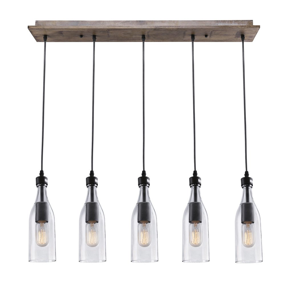 LNC A02982 Wood Pendant 5 Ceiling Linear Chandelier Kitchen Island Light fixtures, Brown