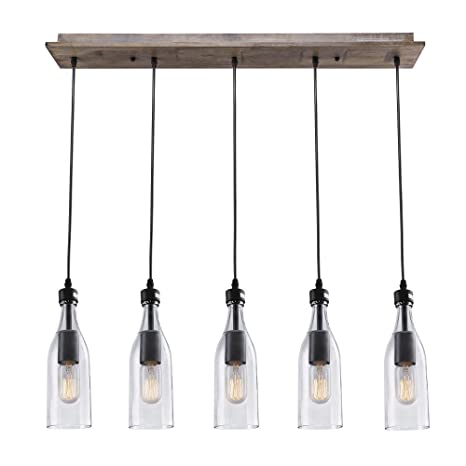 LNC Wood Pendant Lighting Light Ceiling Lights Linear Chandelier - 5 pendant light fixture