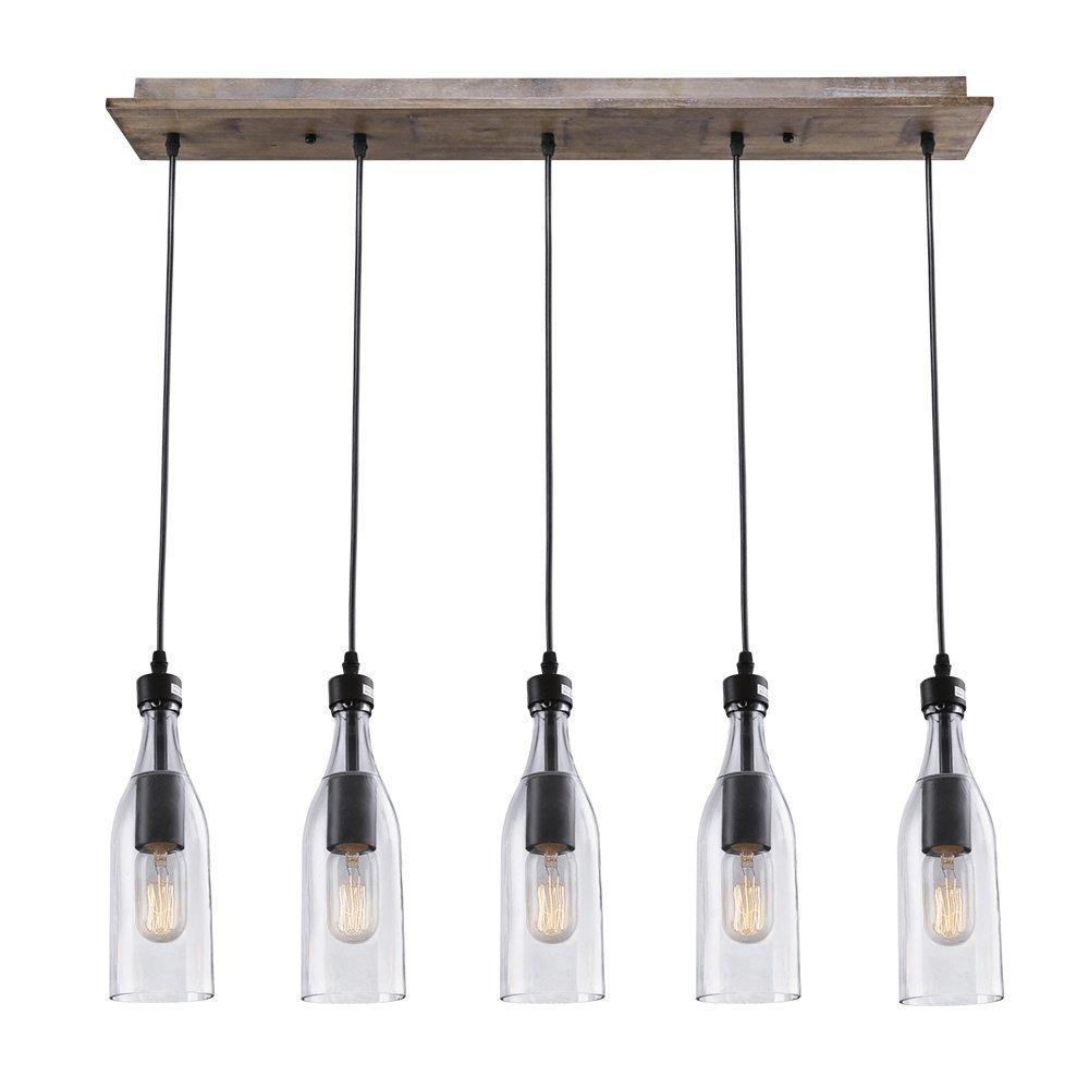 LNC Wood Pendant Lighting 5-light Ceiling Lights Linear Chandelier Lighting