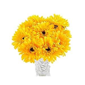 10 PCS Real Touch Latex Silk Artificial fake plastic Daisy Chrysanthemum Flowers Sun Chrysanthemum,Sunflower, Simulation Gerber, Dimorphotheca,Party Room home Decoration DIY Flower Bouquet (Yellow) 1