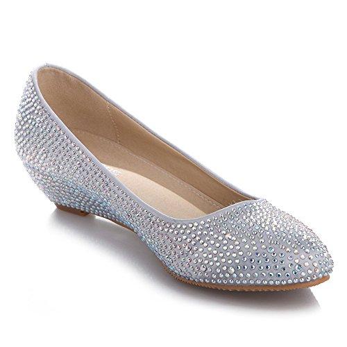 Amazon.com | VELCANS Crystal Rhinestone Middle Heels Flats Dress ...