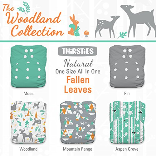Thirsties Package, Snap Natural One Size All In One, Woodland Collection Mountain