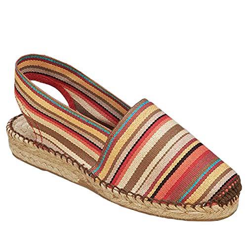Ruanyu Slip On Espadrille Wedge Sandals Closed Toe Canvas Slingback Mules Shoes