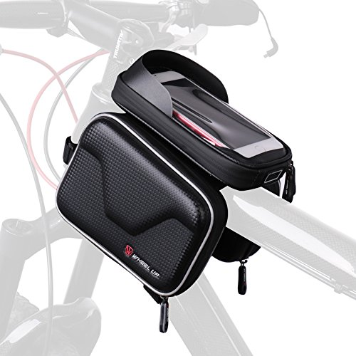 DEKINMAX Bike Bag Bicycle Front Frame Bag Cycling Waterproof Sensitive Touch Screen Top Tube Bag Fits Phones Below 6.2 Inches (Fit Bike Frames)