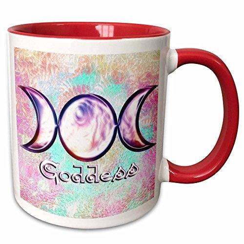 3dRose Dooni Designs Abstract and Surreal Art - Triple Moon Goddess Wiccan Symbol Surreal Digital Art - 15oz Two-Tone Red Mug (mug_103657_10)