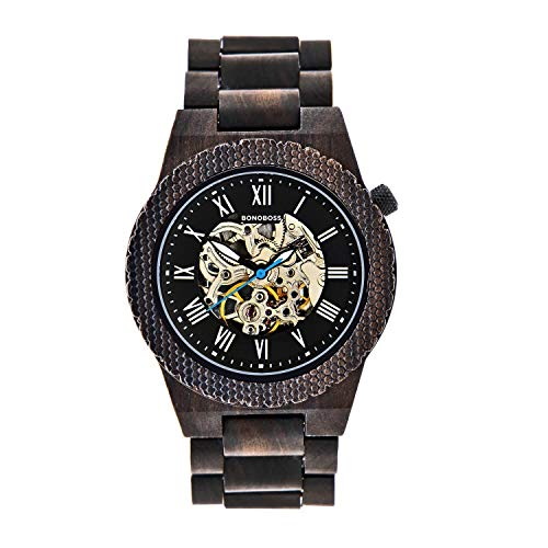 Bonoboss Kronos - Reloj Automático de Madera para Hombre, Cristal de Zafiro (New Sándalo Negro): Amazon.es: Relojes