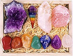 Healing Crystals Gift Kit in Wooden Box